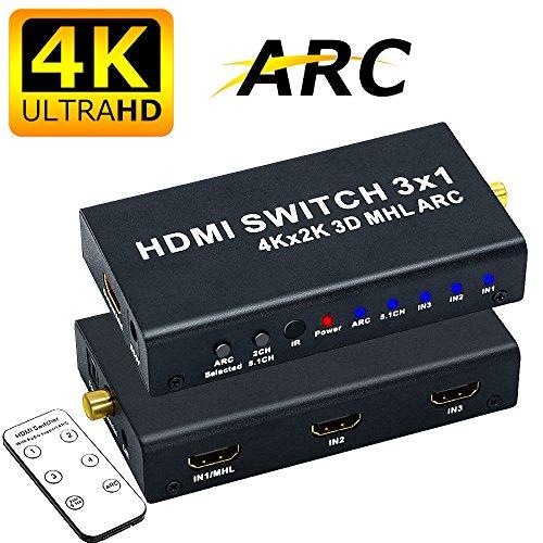 ELEVIEW HDMI 切替器 4K 3D セレクター 3入力 1出力 hdmi 音声分離 ( 音声出力:SPDIF光デジタル 同軸 3.5mmステレオミニ L/Rアナログ ) HDMI 分配器 hdmi スイッチャー hdmi オーディオ 分離 スプリッター ARC CEC MHL フルHD対応 リモコン付き -
