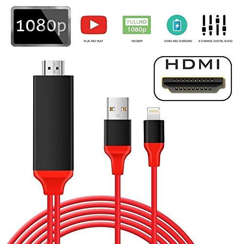 Three-T 【正品保証】 最新版 Lightning to HDMI 変換 ケーブル 設定不要 プラグアンドプレイタイムラグない 2M 1080P 高画質 HDTV iPhone iPad iPod ミラリング 最新iOS 10.3.1まで対応 HDMI & USB & Lightning ケーブル