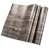 W-Space[ダブリュー スペイス]簡単 模様替え 壁紙 DIY 古典 貼付シールタイプ 45cm×10m ウォールステッカー 防水 オリジナル貼り方説明書付 (グレー+ブラック)