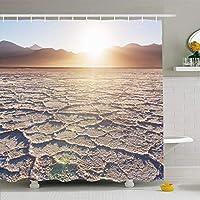 シャワーカーテン72x78インチグランデリチウム塩砂漠フフイ州アルゼンチンサリナス自然公園鉱山アルティプラノアメリカ防水ポリエステルファブリックフック付きバスルームカーテン 180X180 CM