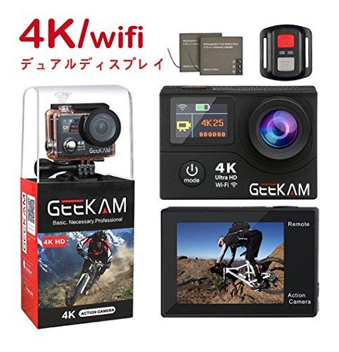 アクションカメラ 4K 25Fps WiFi搭載 リモコン付き ウェアラブルカメラ 1200万画素 高画質 スポーツカメラ 30M 防水 170度広角レンズ アクションカム 4k ビデオ 革新デュアルモニター HDMI出力 バイク/自転車/車などに取り付け可能 デュアルバッテリー( GEEKAM )