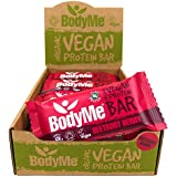 BodyMe Organic Vegan Protein Bar | Raw Beetroot Berry | 12 x 60g Vegan Protein Snack Bars | Gluten Free | 16g Complete Protein | 3 Plant Proteins All Essential Amino Acids | High Protein Vegan Snacks