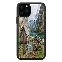 iPhone 11 Pro Max 用 強化ガラスケース クリア 薄型 耐衝撃 黒 カバーケース 景観 アルプス山脈の湖上に立つドイツヨーロッパ自然写真 マルチカラー iPhone 11 Pro 2019用 iPhone11ケース用
