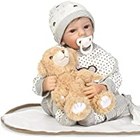 Ncol Rebornベビー人形ソフトSiliconeビニールLifelike、磁気口リアルな新生児人形withストライプ服装、20インチ加重Baby