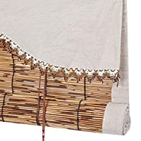 すだれ 竹カーテン 竹製カーテン シェーディング 日焼け止め カーテン ロールアップリフティング 仕切り ティールーム、 カスタマイズ可能,B,60x200CM