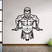 アート壁デカール筋肉マンビニールリムーバブルウォールステッカー体育館防水リビングルームの装飾デカール60×56センチ
