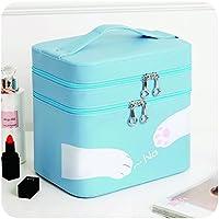 かわいい二重層メイクアップケース女性のためのポータブル化粧品ブラシオーガナイザーの収納袋女の子の家庭用,Blue