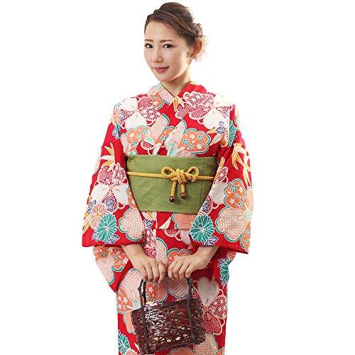 (オオキニ)大喜賑 浴衣 3点セット 古典柄17種 レディース フリーサイズ セット 帯 下駄 (【BNA22】赤色古典椿)