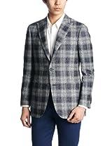 Linen Cotton Plaid 2-button Patch Pokcet Jacket 3122-110-0357: Navy