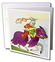 フローレン子供アート–赤イエローバイオレットKnight and Horse–Greeting cards-12グリーティングカード封筒付き(GC _ 35114_ 2)