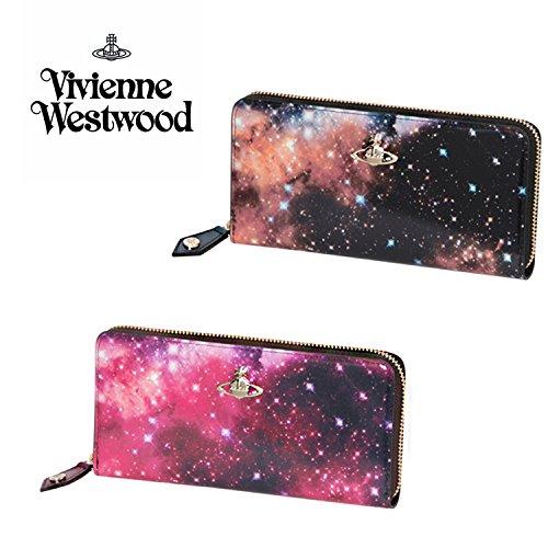(ヴィヴィアンウエストウッド) Vivienne Westwood 正規品 NEBULA レザー ラウンドファスナー 長財布 プリント ロング ウォレット 本革 財布 (ピンク)