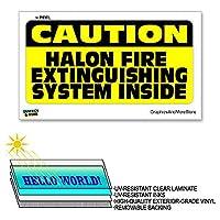 注意ハロン消火システムの内部 - 12×6で - ラミネート符号ウィンドウビジネスステッカー