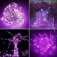 イルミネーションライト LEDストリングスライト フェアリーライト 100球 10m 8種光るパターン 防水仕様 調光可能 リモコン付属 屋内・屋外兼用 結婚式/誕生日/パーティー/学園祭/庭/広場/街路樹装飾 (パープル)