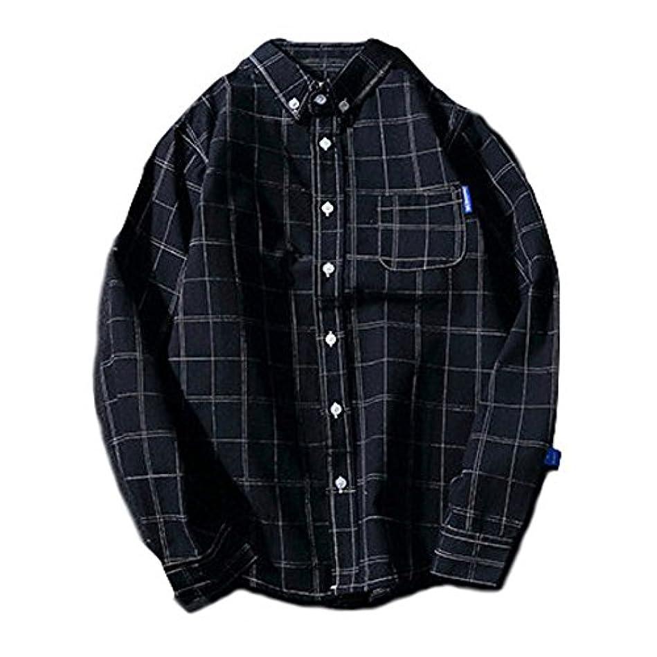 れるベルト熟したSpinas(スピナス) メンズ ボタンダウン 長袖 シャツ シンプル チェック柄 全2色 ( グレー ネイビー)