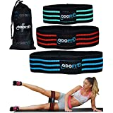 ODOFIT Booty Resistance Bands Hip Loop Bands for Legs and Butt Workout -Set of 3 Fabric Non Slip Glute Elastic Exercise Band for Warm-Up and Squat -Activate Quads & Thighs, Thick, Wide Cloth, Women