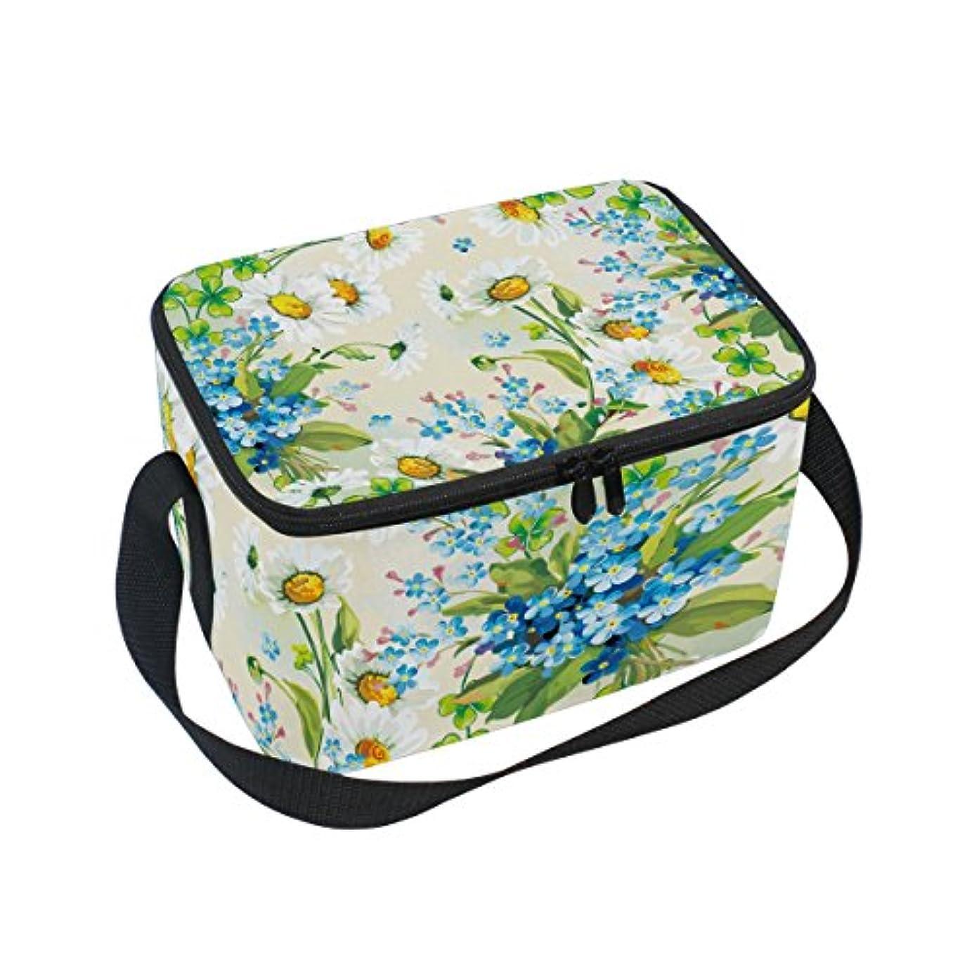 凝縮する和らげる塗抹クーラーバッグ クーラーボックス ソフトクーラ 冷蔵ボックス キャンプ用品 菊と青子花柄 油絵 保冷保温 大容量 肩掛け お花見 アウトドア