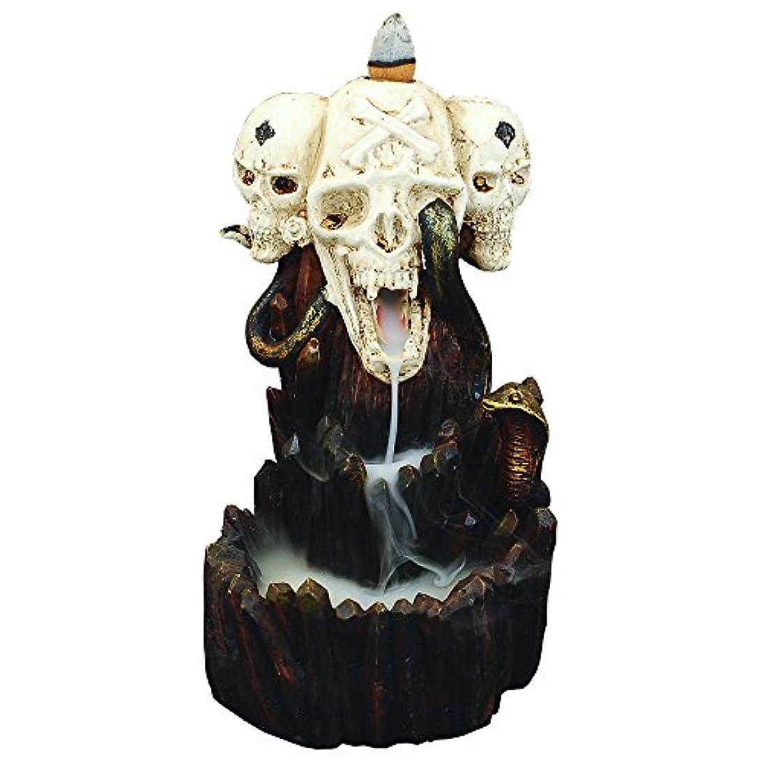 ペレグリネーション排出抑制するzingyou Skull Backflow Incense Burner、樹脂Incense Holder with Incense Cones – ハロウィーンゴーストヘッド、スカル M ブラック 14200705
