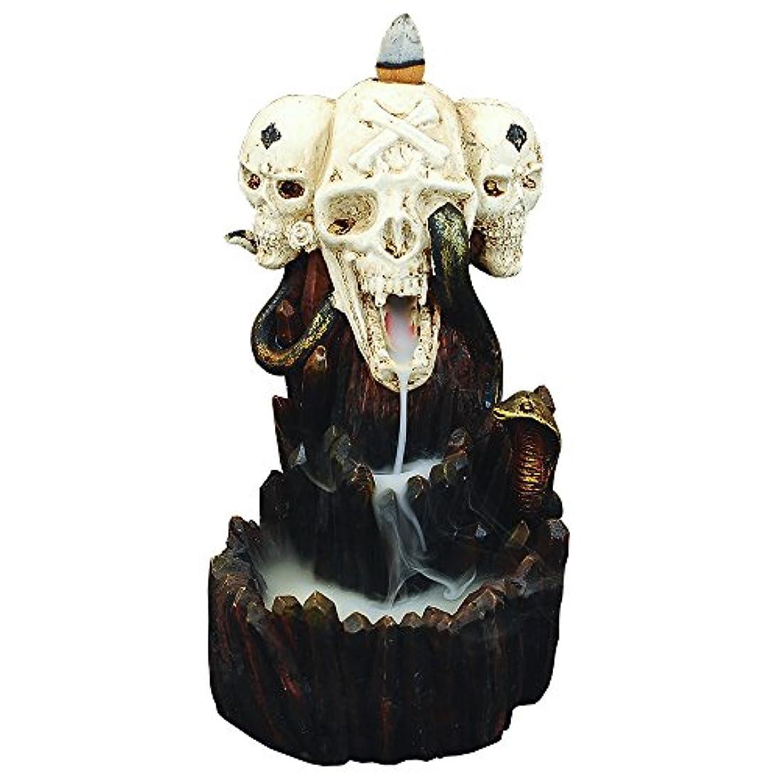 グラス正午針zingyou Skull Backflow Incense Burner、樹脂Incense Holder with Incense Cones – ハロウィーンゴーストヘッド、スカル M ブラック 14200705