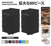 エースパンチ 新しい 80ピースセット黒い 500 x 500 x 20 mm フラットウェッジ 東京防音 ポリウレタン 吸音材 アコースティックフォーム AP1035