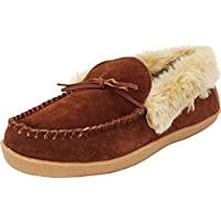 Tamarac by Slippers International Men's Justin Whipstitch Faux Fur Lined Moccasin Slipper