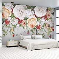 Ljjlm リビングルームの寝室の背景の壁の家の装飾ファッションローズフラワーのカスタム3D壁画の壁紙-420X280cm