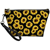 Showudesigns Sunflower Hanging Cosmetic Bag for Purse Floral Makeup Brush Organizer Women Travel Toilet Kit Pouch Small Waterproof Clutch Handbags with Handle