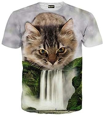(ピゾフ)Pizoff メンズ 半袖 Tシャツ 猫柄 滝柄 迫力 カッコいい 面白 トップスC7058-01-S