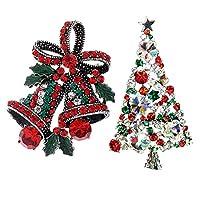 Echana クリスマス キラキラ ブローチ アンティーク 胸元 蝶結び ベル クリスマスツリー ラインストーン 輝く 飾り物 プレゼント 2セット
