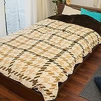フランネル あったか 掛け布団カバー シングル 冬用 「千鳥格子」 ブラウン かわいい シングルロング 150×210cm