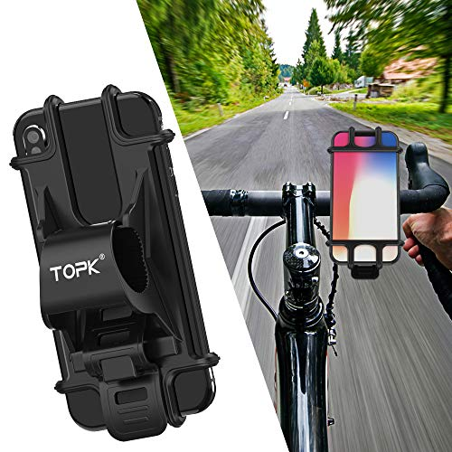 TOPK 自転車ホルダー アクセサリーホルダー スマホホルダー 自転車/バイク用スタンド シリコン製 装着・脱着簡単 GPSナビ 脱落防止 4-6インチの携帯電話に対応 携帯ホルダー iPhone/Android固定用マウントキット バイクスタンド (ブラック01)