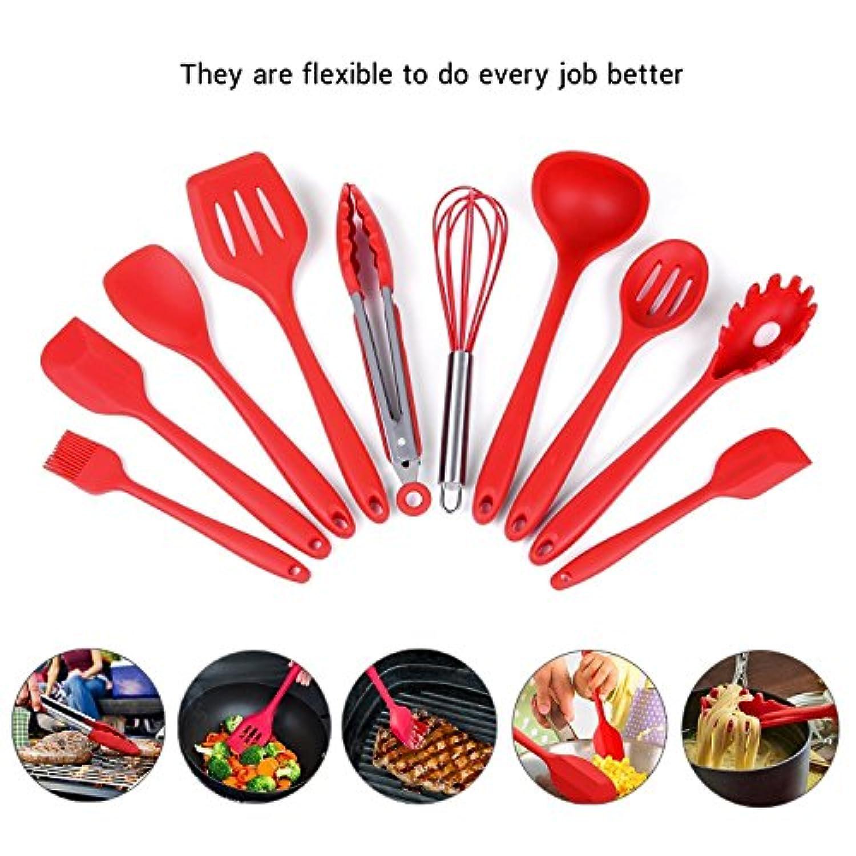 シリコン製食器、耐熱シリコン製台所用品10個セットトング、泡立て器、ブラシ、スパチュラ、スロットスプーン、ヌードルスプーン、ライスパドル、スロット付きスパチュラ、スープスプーン (赤)