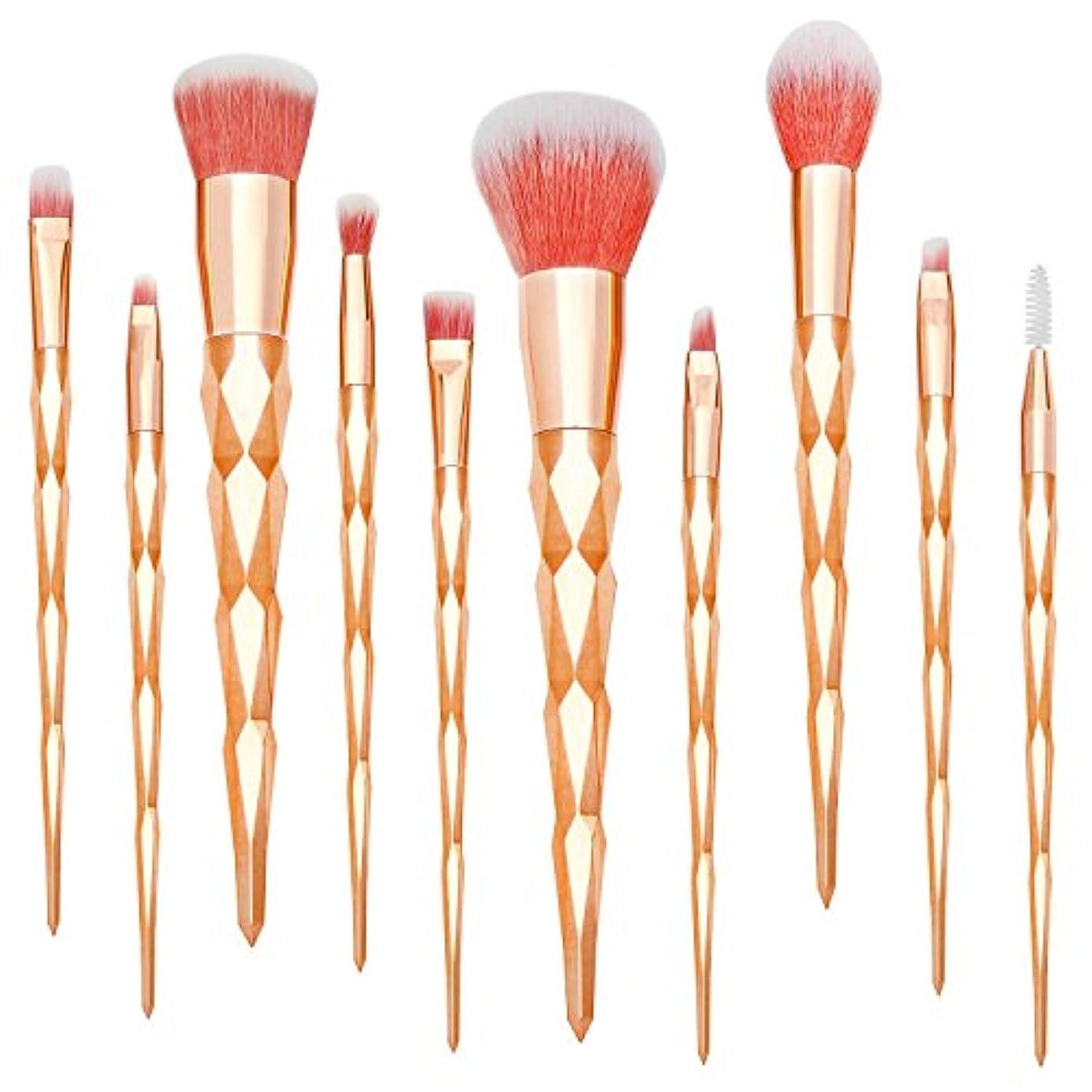 カートリッジドラム関税Qivange ユニコーンメイクブラシセット 化粧ブラシ 高級繊維 優しい肌触り 10本化粧筆セット 手柄キラキラ(貴族のゴールド)