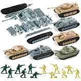 WW2 Army Tank and Army Men Toys Playset,6 Take Apart Military Vehicles with German/US/Soviet Tanks Models and 12 Toy Soldiers for Kids Boys