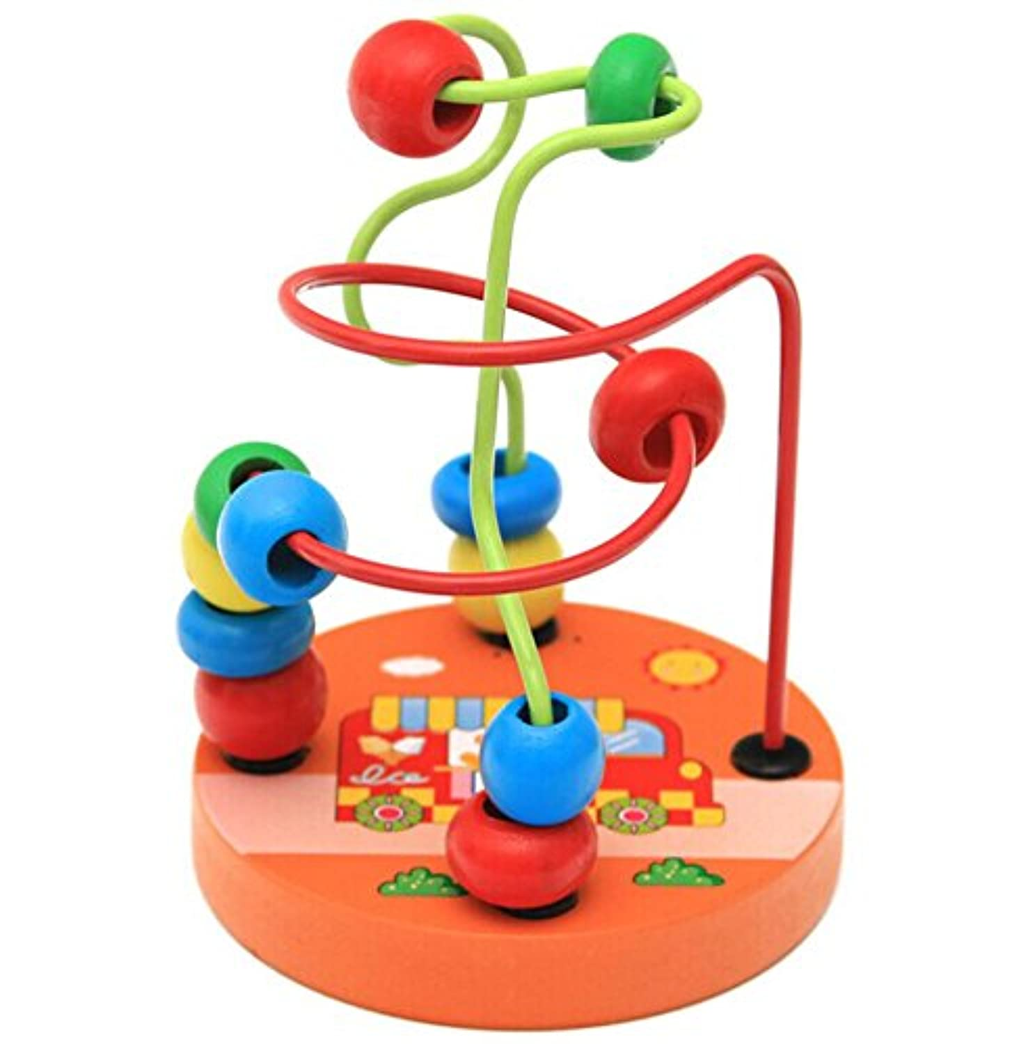 Mini Toddler Baby Educational Wooden Circle Bead Maze Game Intelligence Toys