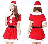 超かわいい & セクシー サンタ ミニワンピ 衣装 クリスマス コスプレ / サンタ 帽子 ベルト ふかふか 白手袋 4点 セット -