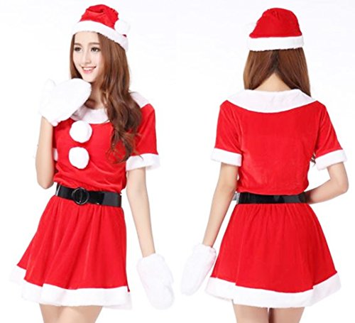 超かわいい & セクシー サンタ ミニワンピ 衣装 クリスマス コスプレ / サンタ 帽子 ベルト ふかふか 白手袋 4点 セット