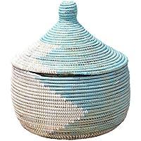 セネガル産水草使用?手編みバスケット/収納?小物入れ/ハンドメイドペールブルー?ホワイト