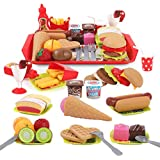 REMOKING Children Pretend Role Play Toys, Educational Food Toys for Toddler Girl Boy, Kids Preschool Learning Toys, Kitchen Toy, Hamburger, Hotdog, Cutting Fruit, Ice Cream Food Set