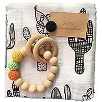 ZOO(ズー)出産祝い 男の子 女の子 木のおもちゃ おくるみ 誕生日 プレゼント 0歳 1歳 授乳ケープ プレイマット (サボテン)