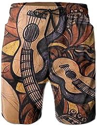 ギター メンズ サーフパンツ 水陸両用 水着 海パン ビーチパンツ 短パン ショーツ ショートパンツ 大きいサイズ ハワイ風 アロハ 大人気 おしゃれ 通気 速乾