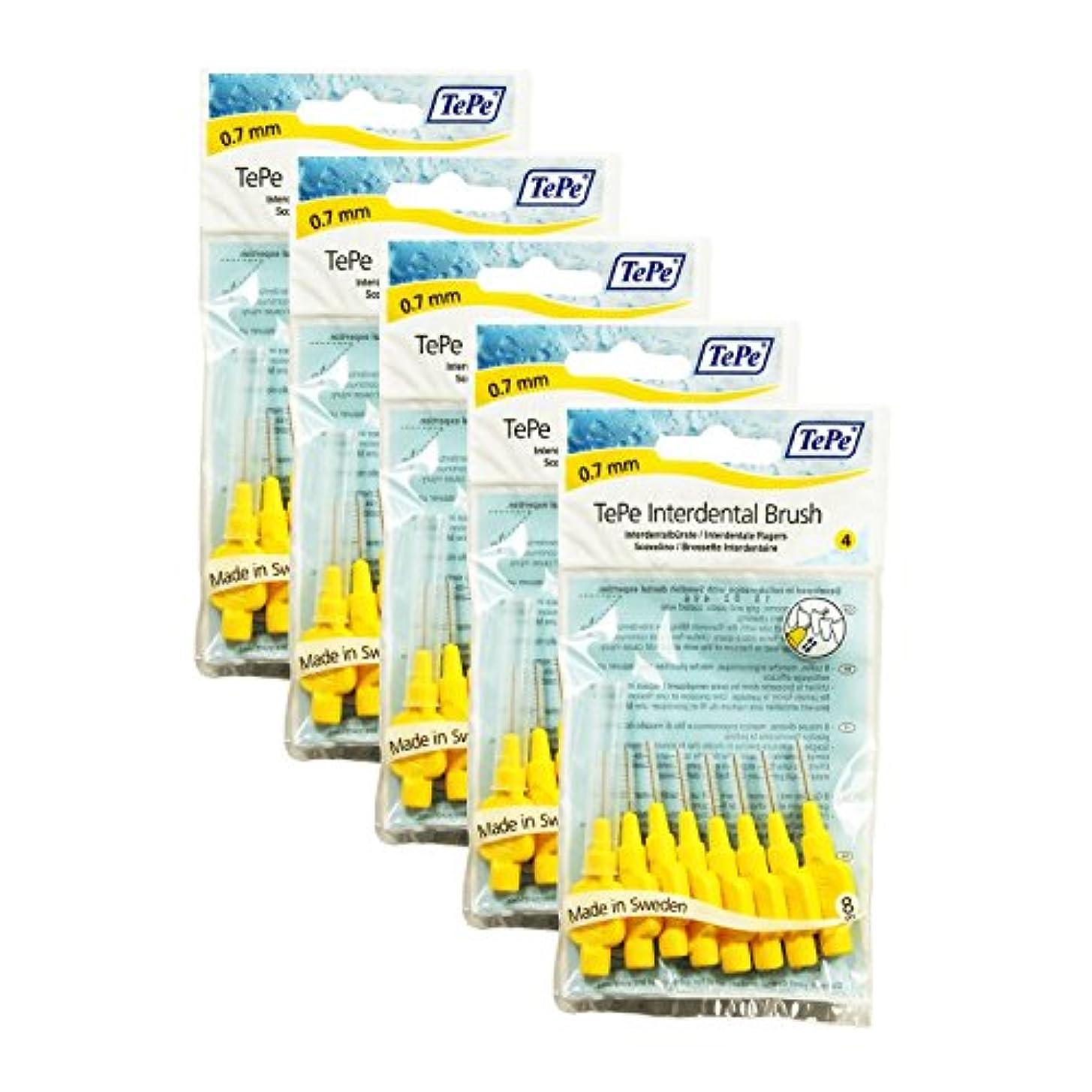 暴露するかかわらずジェットTePe Interdental Brushes YELLOW 0.70 mm - 40 Brushes (5 Packs of 8) by TePe