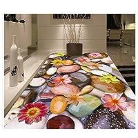 Mrlwy 床ポリ塩化ビニールの壁紙の自己接着床の壁画の玉石のはすの現代注文の床の壁画-350X250CM
