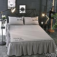ZHIYUAN ソリッドカラーフリルベッドスカート2枕カバーセット,セミダブル,グレー