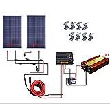 ECO-WORTHY 200W ソーラーパネルキット: 2個 100W ソーラーパネル + 5m延長線 + 20A 温度補償チャージーコントローラー + 1Kw 12V-110V オフグリッド正弦波インバーター + MC4 コネクター + Z 取付金具