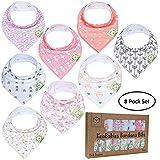 Baby Bandana Drool Bibs for Girls - Super Absorbent Organic Cotton Bandana Bibs - Baby Drool Bib - Teething Bibs - Handkerchief Bibs for Infant Toddler - 8-Pack Bib Set - Bib Girl (Pink Dreams)