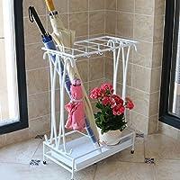 鉄のアート傘スタンド雨具収納棚耐久性のある17 * 9 * 24インチ 収納用品 (Color : 白)