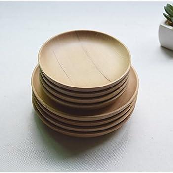 miyare(ミヤレ)  皿 木皿 小皿 大皿 ラウンド お菓子皿 トレー ランチプレート 木製 食器 軽量 2個セット(S、L) (2X)