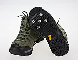 簡単装着 便利!靴底取り付け型スパイク 滑り止め 転倒防止 フリーサイズ ブラック