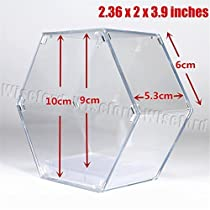 Acrylic Hexagonal Display Case/Box (2.36x2x3.9 Inches) With White Base Perspex Dustproof ShowCase For Amiibo Action Figuer by Wiseford [並行輸入品]