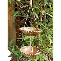 ココナッツ 小物入れ 吊り下げ 2段 ×模様 アジアン雑貨